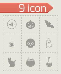 Vector black halloween icons set