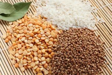Dry buckwheat, peas and rice