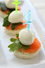Canape with trout and mozzarella