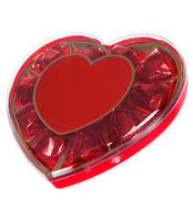 Red heart box of chocolates isolated on white