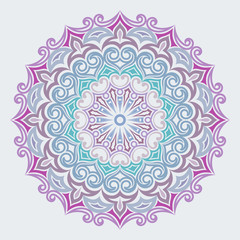 Abstract colorful flower round vector ornament.