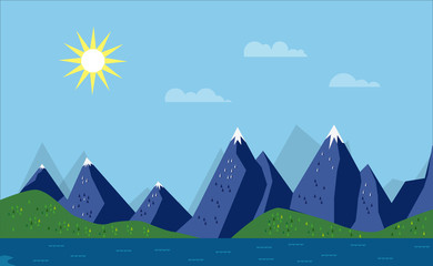Landscape With Water and Mountains as a Flat Design