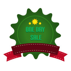 Green Ribbon Badge With Sale Text