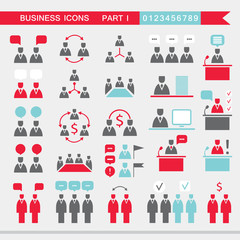 Set of web icons for business finance office communication