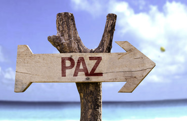 """""""Paz"""" (In portuguese - Peace)  sign with a beach"""