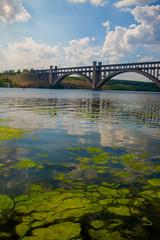 Beautiful landscape with arched bridge