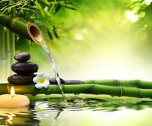 """Постер, картина, фотообои """"spa stones in garden with flow water"""""""