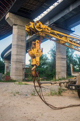 Part of the cargo crane with hook