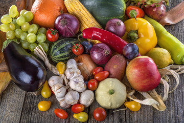Healthy organic fruits and vegetables from the garden
