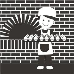 Panadero con bandeja de magdalenas BN con fondo