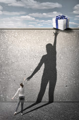 Girl reaches for the gift. Concept graphic.