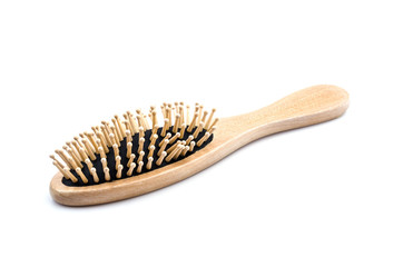 Wood comb isolated white background