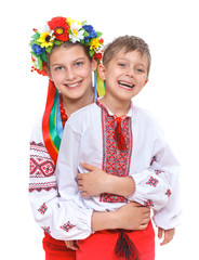 Girl and boy in the national Ukrainian costume