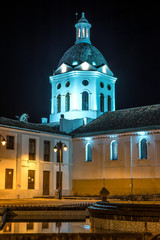 Church and steeple at night time, Cuenca, Ecuador