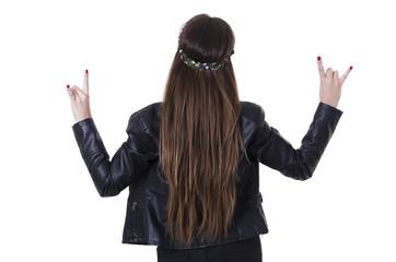Beautiful young hippie rocker funky fashionable girl