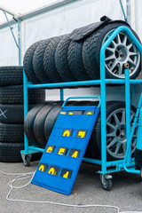 Different sets of racing tyres