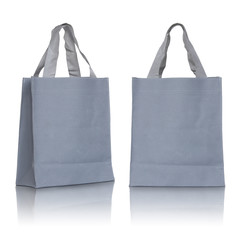 Gray canvas bag on white background
