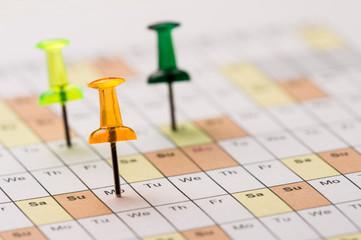 Pins on calendar
