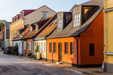 Charming small houses in Ystad, Scania region, Sweden.