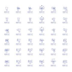 Teeth Icons Set - Isolated On White Background