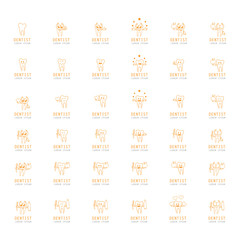 Teeth Icons Set - Isolated On White Background