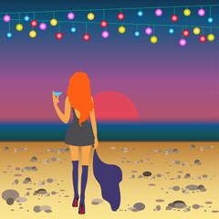 ginger girl on the beach meets the sunrise after party