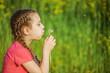 little girl blowing ondandelion