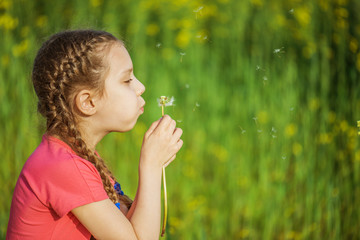 little girl blowing ondandelion