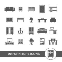 Furniture icons set.