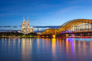 Cologne Cathedral and city skyline Germany