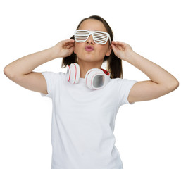 Trendy attractive young girl in shutter shades