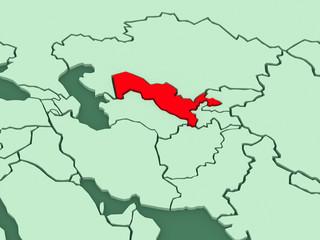 Map of worlds. Uzbekistan.