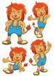 lion cartoon set