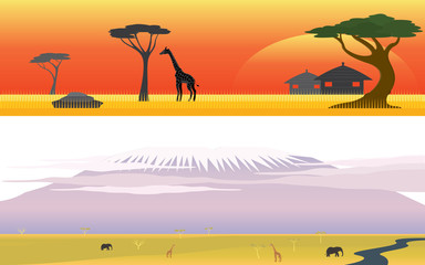 Set of Africa Savanna Safari and Great mountain landscape