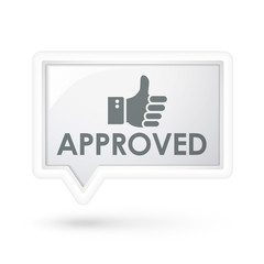 approved word with hand sign on a speech bubble
