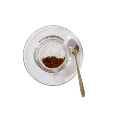 Coffee and sugar  in Glass cup on a white background.