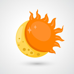 moon with sun icon vector
