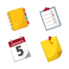 Note paper and calendar set vector