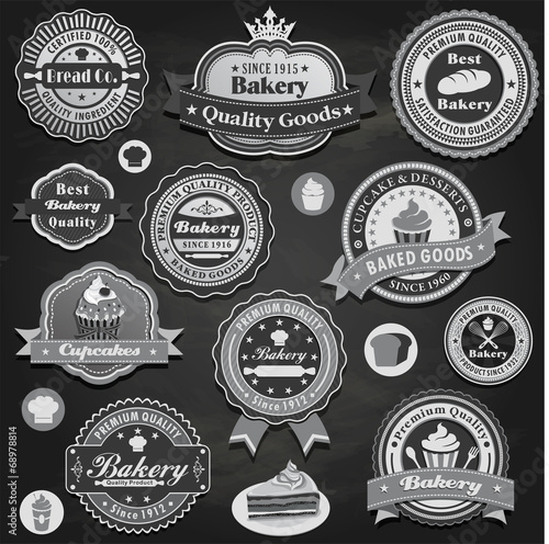Vintage Bakery label set design with cake, cupcake, bread