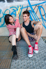 Young multi-ethnic couple.