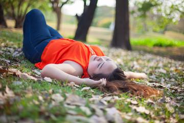 Happy fatty woman posing outdoor