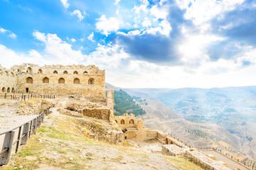 Landscape castle prospects Jordanian mountains at Kerak Castle