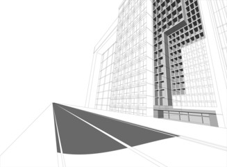Wireframe building cityscape,architecture background