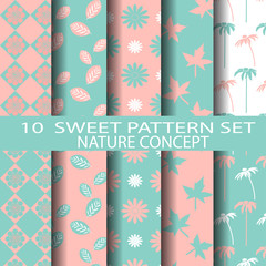 sweet pink and blue nature pattern set