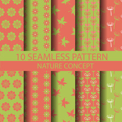 retro green and pink nature pattern set