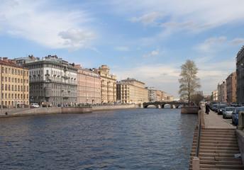 Река Фонтанка в районе Измайловского моста. Санкт-Петербург
