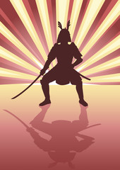 Illustration of an armored samurai on light burst background