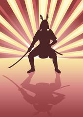 Illustration of an armored samurai on light burst background