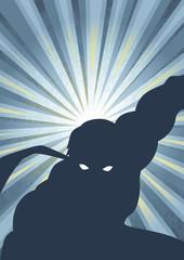 Silhouette illustration of a masked superhero
