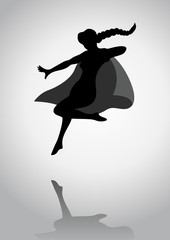 Silhouette of a female figure with superhero suit